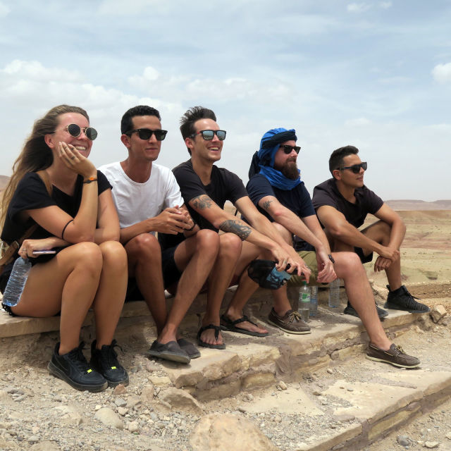 Group on top of the Kasbah in Ouarzazate